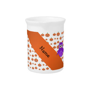 Personalized name owl pumpkins pattern drink pitcher