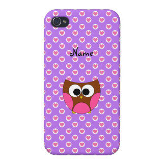 Personalized name owl purple heart dots case for iPhone 4