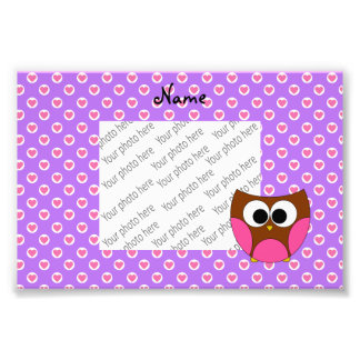 Personalized name owl purple heart dots photograph