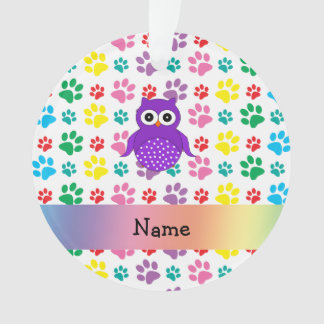 Personalized name owl rainbow paws