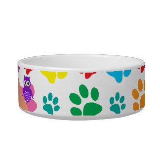 Personalized name owl rainbow paws bowl