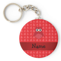 Personalized name owl red christmas trees keychain