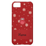 Personalized name owl red snowflakes cover for iPhone 5C
