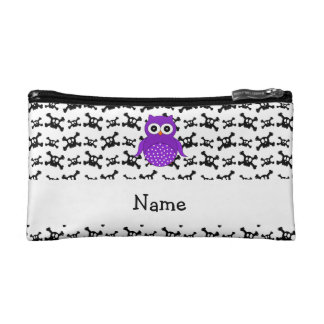Personalized name owl skulls pattern cosmetics bags