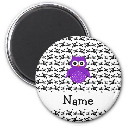 Personalized name owl skulls pattern refrigerator magnet