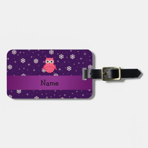 Personalized name owl snowflakes stars bag tags