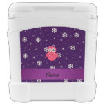 Personalized name owl snowflakes stars igloo rolling cooler
