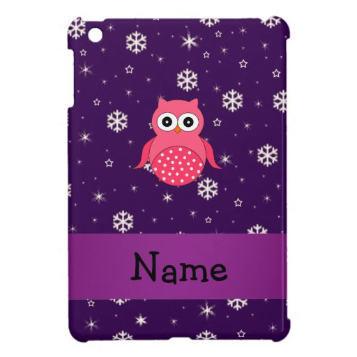 Personalized name owl snowflakes stars iPad mini cover