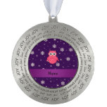 Personalized name owl snowflakes stars round ornament