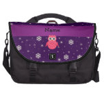 Personalized name owl snowflakes stars bag for laptop