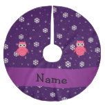 Personalized name owl snowflakes stars brushed polyester tree skirt