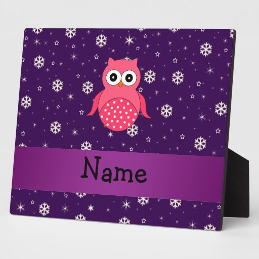Personalized name owl snowflakes stars display plaques
