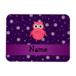 Personalized name owl snowflakes stars flexible magnet