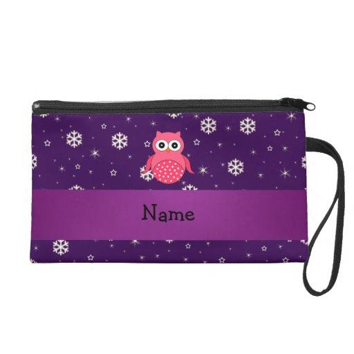 Personalized name owl snowflakes stars wristlet clutch