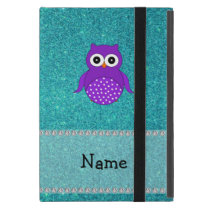 Personalized name owl turquoise glitter cover for iPad mini