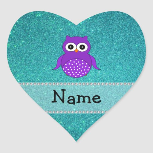 Personalized name owl turquoise glitter heart sticker