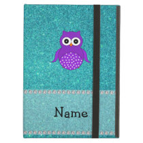 Personalized name owl turquoise glitter iPad air cases