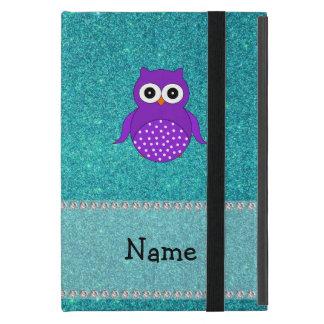 Personalized name owl turquoise glitter iPad mini cases