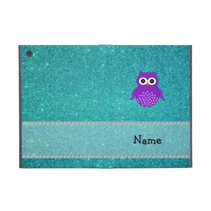 Personalized name owl turquoise glitter iPad mini cases