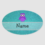 Personalized name owl turquoise glitter oval sticker