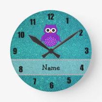 Personalized name owl turquoise glitter round clock