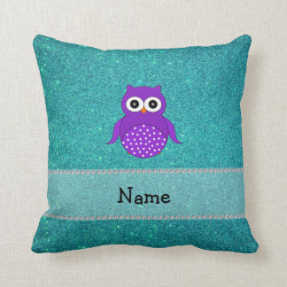 Personalized name owl turquoise glitter throw pillow