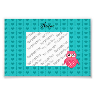 Personalized name owl turquoise hearts dots photo