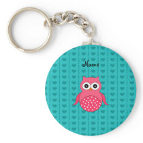 Personalized name owl turquoise hearts keychain