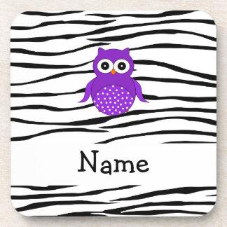 Personalized name owl zebra stripes beverage coaster