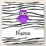 Personalized name owl zebra stripes drink coasters