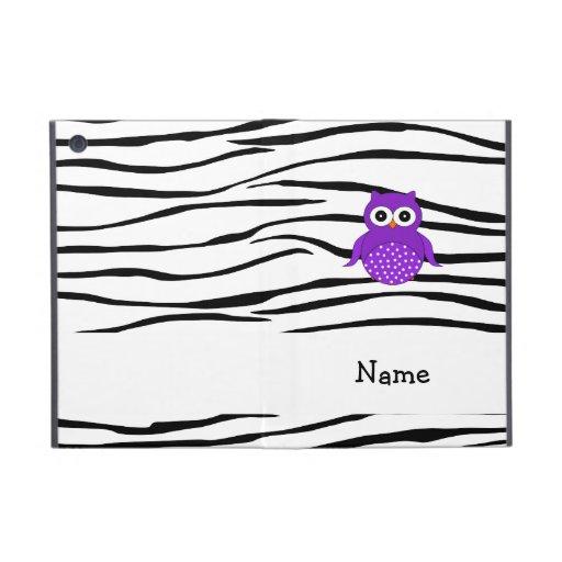 Personalized name owl zebra stripes case for iPad mini