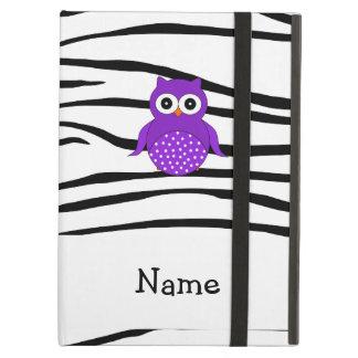 Personalized name owl zebra stripes iPad cases
