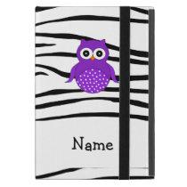 Personalized name owl zebra stripes iPad mini cover