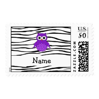 Personalized name owl zebra stripes postage