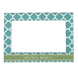 Personalized Name Pale Blue Quatrefoil Pattern Magnetic Picture Frame