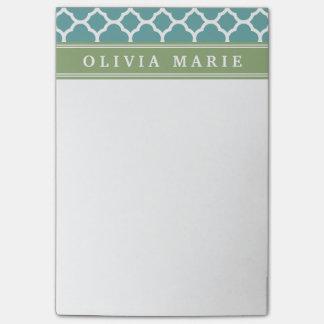 Personalized Name Pale Blue Quatrefoil Pattern Post-it Notes