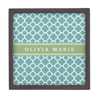 Personalized Name Pale Blue Quatrefoil Pattern Premium Trinket Boxes