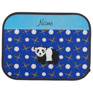 Personalized name panda baseball bats and balls car mat