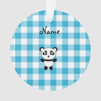 Personalized name panda blue picnic checkers