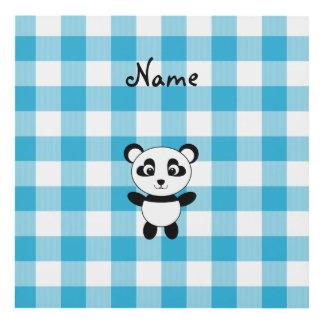 Personalized name panda blue picnic checkers wood wall art