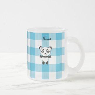 Personalized name panda blue picnic checkers mugs
