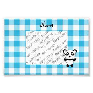 Personalized name panda blue picnic checkers photo art