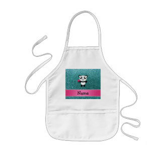 Personalized name panda cupcake turquoise glitter apron