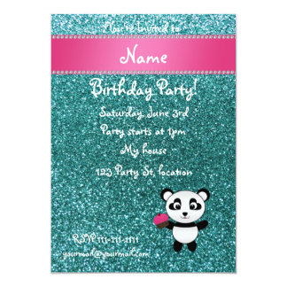 Personalized name panda cupcake turquoise glitter personalized invitations