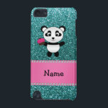 "Personalized name panda cupcake turquoise glitter iPod touch (5th generation) case<br><div class=""desc"">Cute panda gift ideas. Create your own custom Personalized with a name, family name, monogram, or initials or saying cute cartoon panda bear with heart eyes animal with a cute pink cupcake with pink frosting, cherry on top and chocolate cake with a turquoise glitter (faux not real glitter) pattern and...</div>"