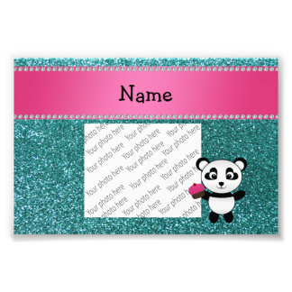 Personalized name panda cupcake turquoise glitter photo print