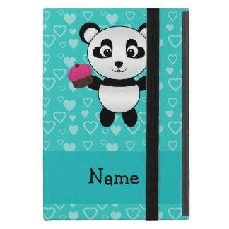 Personalized name panda cupcake turquoise hearts iPad mini case