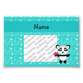 Personalized name panda cupcake turquoise hearts photograph