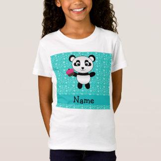 Personalized name panda cupcake turquoise hearts T-Shirt