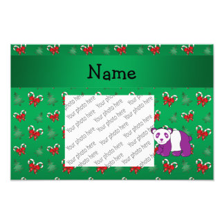 Personalized name panda green candy canes bows art photo
